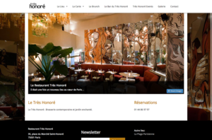 tres honore bar website builder responsive